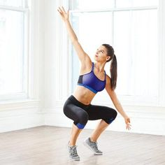 THE BIRD: Cardio moves that tighten and tone your butt - Stand with feet together, arms crossed over chest. Bend knees so thighs are parallel to floor. Step right, splaying knees and opening arms like a bird's wings. Stand up quickly; repeat in opposite direction for 1 rep. Do 3 sets of 8 reps.