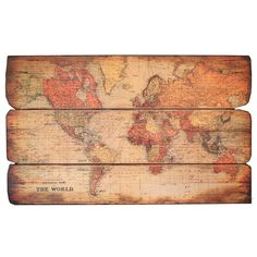 Carte du Monde Wall Decor (Set of 3)