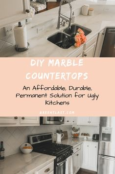 DIY marble countertops Are you on a budget and looking for a . - DIY marble countertops Are you on a budget and looking for a solution to paint over your old granit - Painted Granite Countertops, Painting Kitchen Countertops, Epoxy Countertop, Cheap Countertops, Kitchen Paint, Refinishing Laminate Countertops, Granite Paint, Countertop Covers, Faux Granite