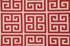 Premier Prints Towers Cotton Drapery Fabric in Primary Red/Natural