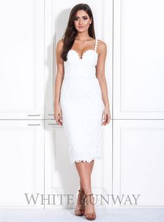 Blushing Belle Dress. Stunning lace dress by Australian designer Love Honor. A flattering midi dress with a sweetheart neckline and corset bodice. Available in Black, White, Black/Nude, Peach & White/Nude. #allwhitewedding #bridalshower #citychic #bachelorette