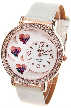 White Watch with Rhinestone Decoration Quartz Analog Dial Leather Watchband (Free shipping)