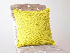 Bright Yellow hand dyed Crochet Vintage Pillow Cover