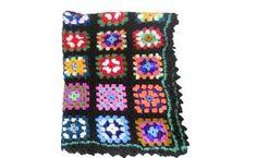 Granny Square Blanket Granny Square Afghan Blanket Boho Blanket Hippie Blanket Crochet Afghan 70s Blanket Boho Bedding Bohemian Blanket by brittylove