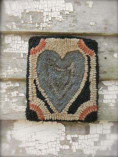 Primitive Hooked Rug Mat Blue Heart     Sold  Ebay  215.00