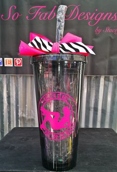 Customized Girly Roller Derby 20 ounce Acrylic cup by SoFabDesigns