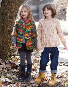 Heft Kinder 75 Herbst / Winter | 42: Kinder Jacke | Schwarz-Gelb-Grün-Fuchsia