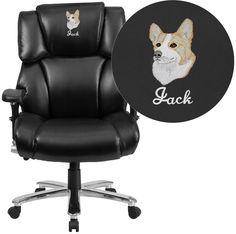 Flash Furniture GO-2149-LEA-EMB-GG Embroidered HERCULES Series 24/7 Intensive Use, Multi-Shift, Big & Tall 400 lb. Capacity Black Leather Executive Swivel Chair with Lumbar Support Knob