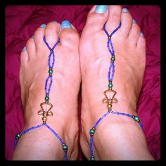Cutiest Barefoot Sandles With Angel ~ Handmade These are adorable and make walking barefoot fun.  My feet feel cute at the pool, on the beach, or up on the coffee table! Made with glass sea beads and gold metal angel embellishments.  Made on adjustable stretch cord. Created By Gina Jewelry