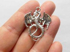 4 Flying Dragon Pendants  Flying Dragon Charms  by StashofCharms