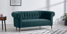 Hammond 2 Seater Sofa, Lagoon Blue Velvet | MADE.com 2 Seater Sofa, Blue Lagoon, Blue Velvet, Soft Furnishings, Home Interior Design, Love Seat, Lounge, Cushions, Living Room
