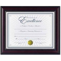 "DAX Prestige Document Frame, Rosewood/Black, Gold Accents, Certificate, 8-1/2"" x 11"" $9.99"