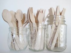 Set of 36 Disposable Wooden Utensils 12 by CreativeJuiceCafe