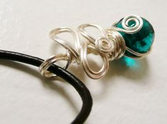 Teal Glass Wire Wrapped Pendant necklace