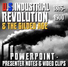 """The Industrial Revolution - The Gilded Age - 1865-1900 PowerPoint with Lecture Notes and video clips, is a great resource to add to your Gilded Age Unit. Lecture is 30 slides total with presenter notes to guide you through the lecture, help you to tell the whole story, and verbally assess and engage your students. PowerPoint also begins with a """"Guess the Inventions"""" motivator and covers the rise of the railroads, electricity, steel, oil immigration and urbanization, robber barons, and…"""