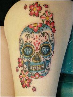 cherry blossoms and sugar skull tattoo