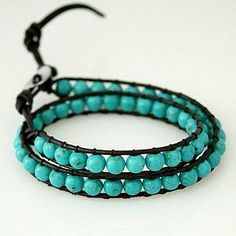 Turquoise howlite beads 2 row wrap. Adjustable leather to fit size 17 - 24cm wrist size
