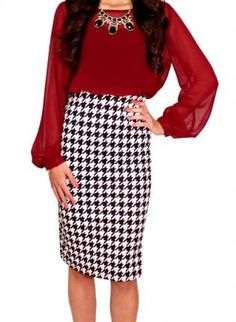 houndstooth skirt #pencilskirt #blackandwhite
