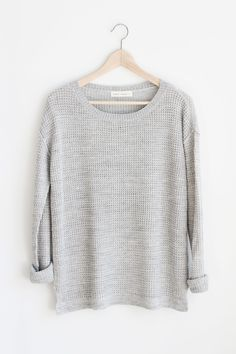"""- Details - Size - Shipping - • 100% Acrylic • Mid-weight waffle knit sweater. • Hand Wash • Line dry • Imported • Measured from small • Length 26.5"""" • Chest 20.5"""" • Waist 22"""" - Free domestic shipping"""