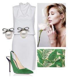 """White and green"" by stefania-fornoni on Polyvore featuring moda, French Connection, Stella & Dot, Oscar de la Renta, white, dress, earrings e lclutch"