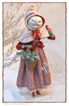 Rucus Studio Snow Maiden Ooak Dolls, Art Dolls, Scott Smith, Vintage Halloween Cards, Snow Maiden, Polymer Clay Ornaments, Paper Mache Sculpture, Ugly Dolls, Found Object Art