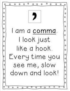 Punctuation posters for comma, period, and much more. FREE digital download with positive responses for feedback.