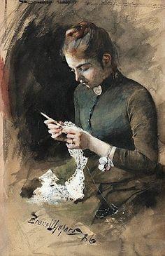 Bruno Andreas Liljefors << knitting portrait art