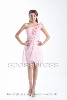 Lovely Pink One Shoulder Flowers Junior Bridesmaid Dress