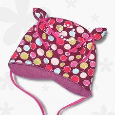 Öhrchenmütze  *Bubbles lila pink* KU 46-48 cm
