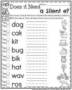 Silent E Worksheets for Kindergarten. 24 Silent E Worksheets for Kindergarten. First Grade Summer Worksheets Long Vowel Worksheets, Summer Worksheets, Spelling Worksheets, First Grade Worksheets, Preschool Worksheets, Printable Worksheets, 1st Grade Activities, Free Worksheets, Consonant Blends Worksheets