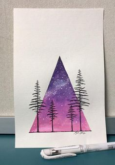 Original water color painting of pine trees in front of a beautiful sunset galaxy sky. Painted on 6x9 cotton paper, perfect in an all white frame