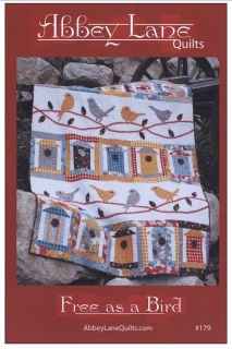 """Free as a Bird has adorable bird houses made from fat quarters just waiting to house the birds that are perched on ric rac vines with raw edge leaves. Fun and fast to make.   Quilt size: 60"""" x 75""""    Vendor : Abbey Lane Quilts  Product Type : Quilts - Lap"""