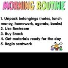 A visual checklist of student routine....