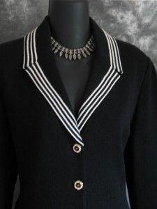 St. John Suit Black   St John Collection Jacket Knit Black Suit Blazer Size 8 10   eBay