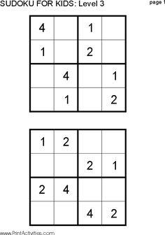 Free Kid Sudoku Puzzle: 4x4