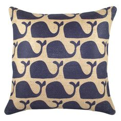 TheWatsonShop Whales Pillow in Navy