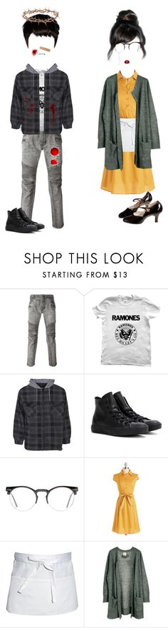 """""""""""I don't feel any shame, I won't apologize."""" (The Scourging at the Pillar)"""" by scleris-corasin ❤ liked on Polyvore featuring Balmain, Boohoo, Converse, Rockstar Sushi, Spitfire, POL, Chef Works and Julie Fagerholt Heartmade"""