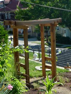 Arbor with Asian influence has stainless steel bars installed across the sides instead of what was there - a horrible busy mess.  He shows how he built this.  I was thinking just 1 part of this or much less deep as we wouldn't use it to walk through - just as a focal point.