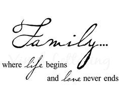 """""""Family...where life begins and love never ends"""" , very beautiful quotes wall art for your home and family.  please visit # http://decorwalldecals.com for more wall stickers and info."""