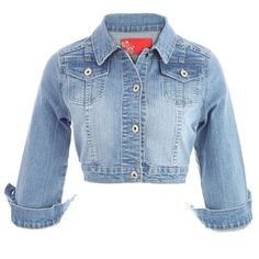 Stone Wash Cropped Denim Jacket ($46) ❤ liked on Polyvore featuring outerwear, jackets, coats, tops, coats & jackets, denim blue, jean jacket, blue denim jacket, cropped jacket and denim jacket