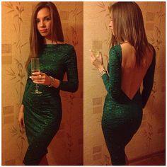 Sırtı Açık Uzun Kollu Elbise   Nişan Kıyafetleri