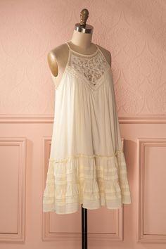 Adalasie - Cream solid crochet lace shift dress