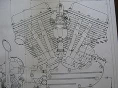 2 harley davidson panhead engine blueprint transmision flh v2 v twin print  vtg #diagram boat