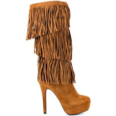 Who says boot season has to be boring?  The Burlesque will bring you flashy fashion even in the chilly months.  This Mojo Moxy boot showcases a soft camel suede with layers of fringe covering the 12 inch shaft and vamp.  This pull on style delivers a 1 1/2 inch hidden platform and 5 inch stiletto heel.