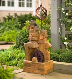 Solar Watermill Fountain with Spinner in Outdoor Fountains