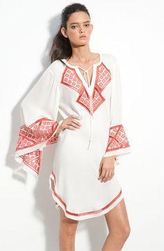 Haute Hippie Embroidered Cutout Silk Tunic