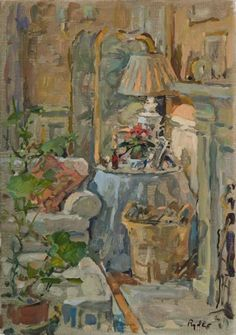 ◇ Artful Interiors ◇ paintings of beautiful rooms - Susan Ryder, RP NEAC (English) 'The Log Basket'