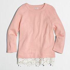 Factory lace-hem sweater