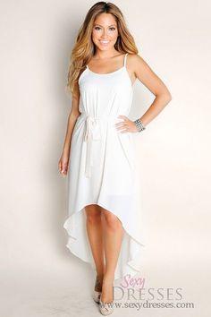 Cute Ivory White Endless Summer Flowy Solid Color High Low Spaghetti Strap Dress  Talle: M, L  Precio: $80