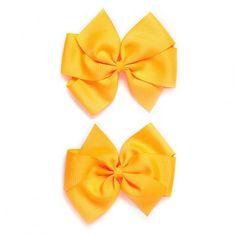 Par de moños grandes en cruz, de listón, color Neón Naranja. Marimora.com